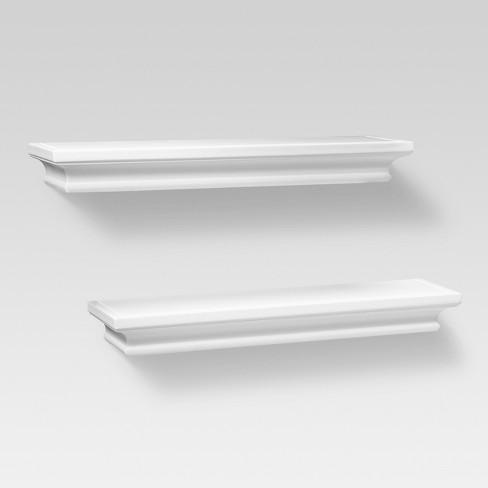 2pc Traditional Wall Shelf Set White - Threshold™ - image 1 of 2