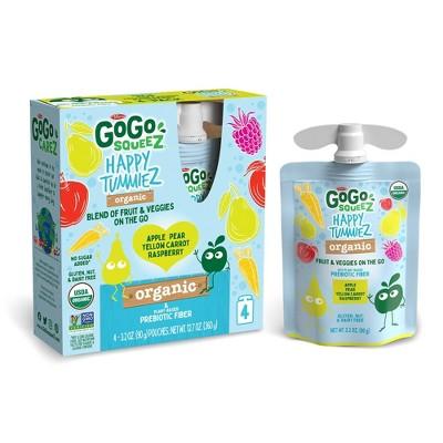 GoGo SqueeZ Happy TummieZ Organic Apple Raspberry Pear Yellow Carrot - 12.7oz/4ct