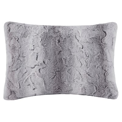 Gray Marselle Faux Fur Throw Pillow (14 x20 )