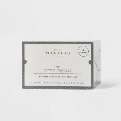 "2"" x 3"" 4pk LED Votive Flameless Black Wick Candle Cream - Threshold™"