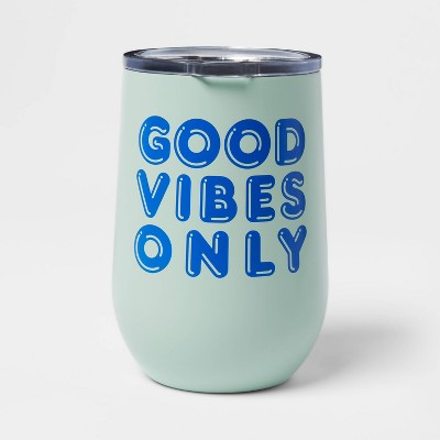 11oz Stainless Steel Vacuum Wine Tumbler with SAN Slide Lid Good Vibes Only - Room Essentials™