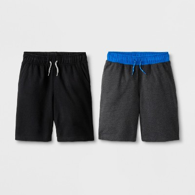 Boys' 2pk Pull On Shorts   Cat & Jack Black/Charcoal by On Shorts