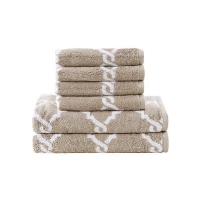 6pc Becker Cotton Jacquard Bath Towels Sets Taupe