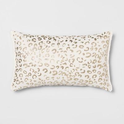 Metallic Leopard Print Lumbar Throw Pillow Cream/Gold - Opalhouse™