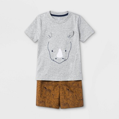 Toddler Boys' 2pc Rhino Short Sleeve T-Shirt and Shorts Set - Just One You® made by carter's Gray