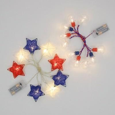 2ct LED String Lights Red/White/Blue Stars - Bullseye's Playground™