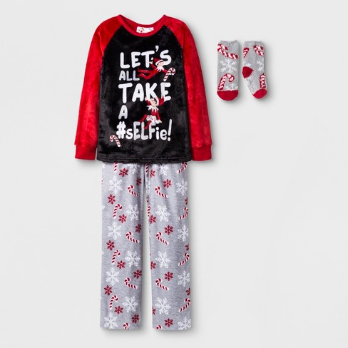 Girls  Elf On The Shelf 2pc Pajama Set With Sock - Red   Target ea2a6f798