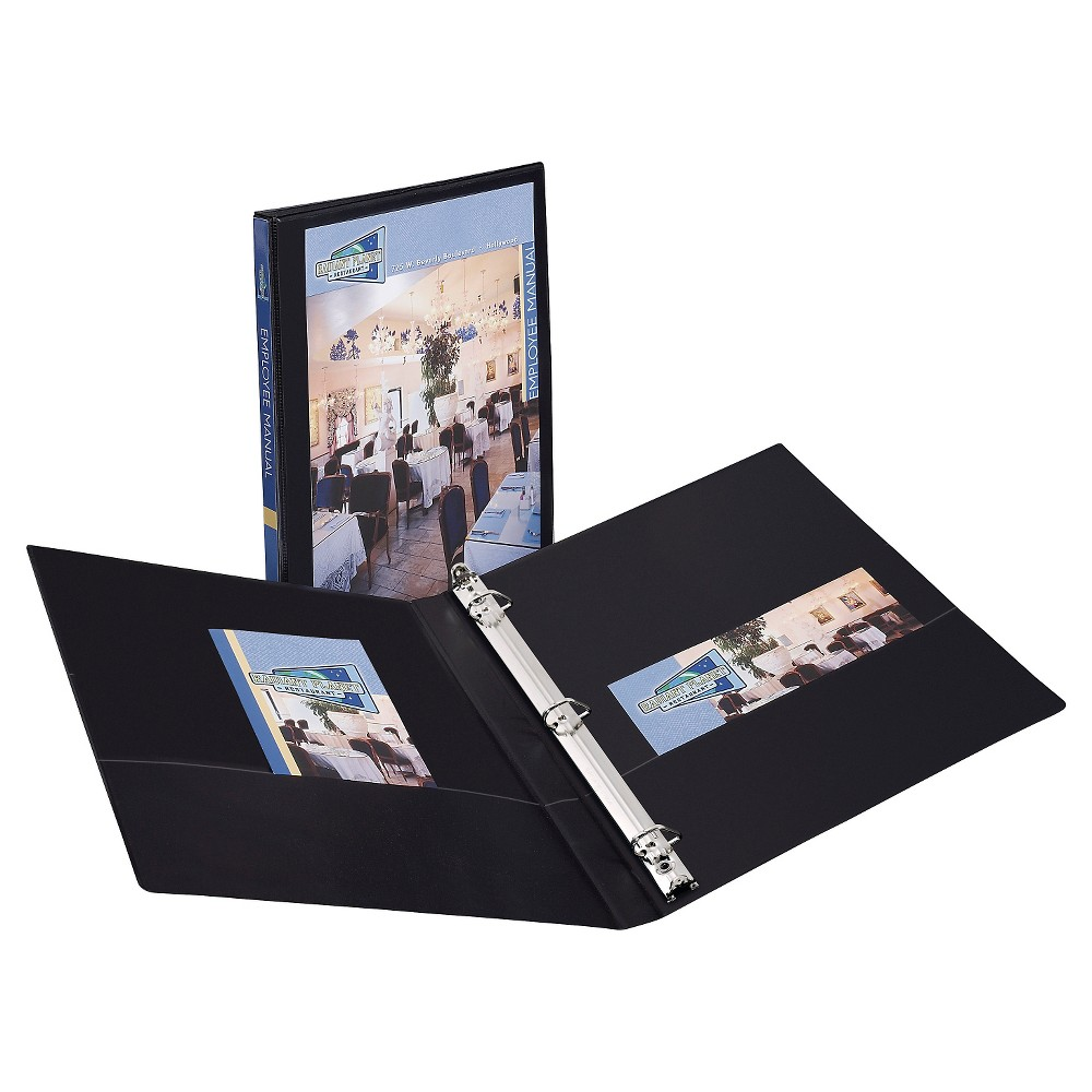 Avery 0.5 Clear View 3 Ring Binder with One Touch Slant Rings -Black, Black