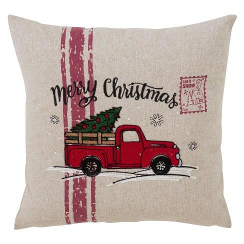 Merry Christmas Red Truck Square Throw Pillow Tan Saro Lifestyle