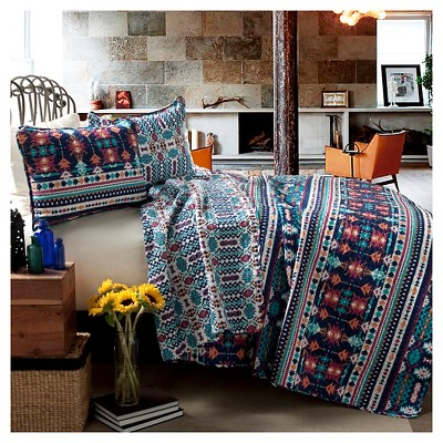 Navy/Turquoise Tribal Quilt Set Full/Queen 3pc - Lush Décor