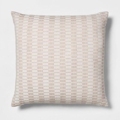 Woven Linework Oversized Square Throw Pillow Cream - Project 62™