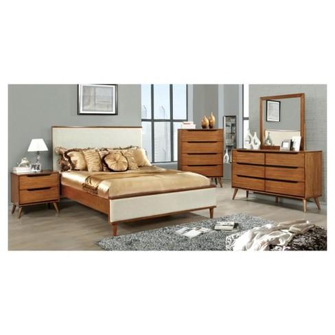 . Dawna Mid Century Modern Fabric Upholstered California King Bed Oak    miBasics