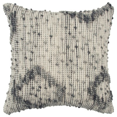 Rizzy Home Geometric Throw Pillow Gray