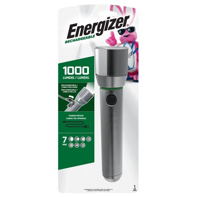 Energizer Vision HD Rechargeable Metal LED FlashLight Silver