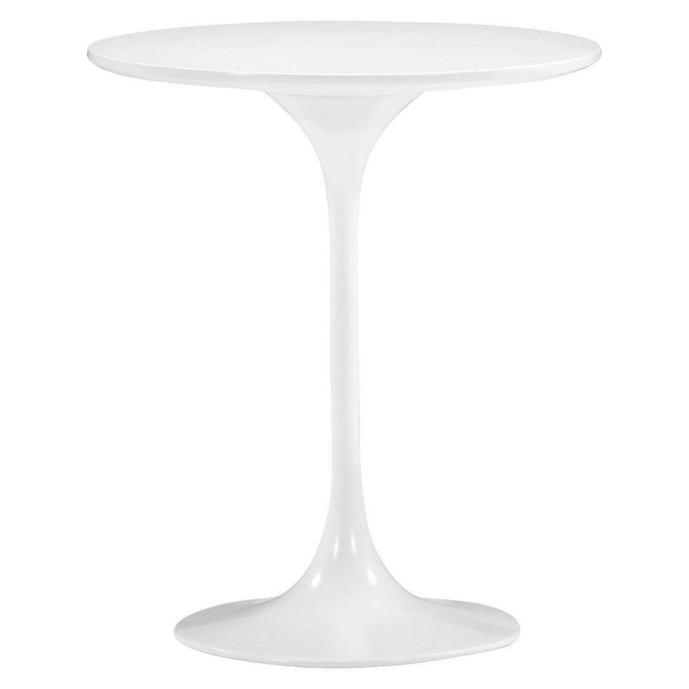 Mid-Century 23 Round Bevel Edge and Tulip Base End Table - White - ZM Home