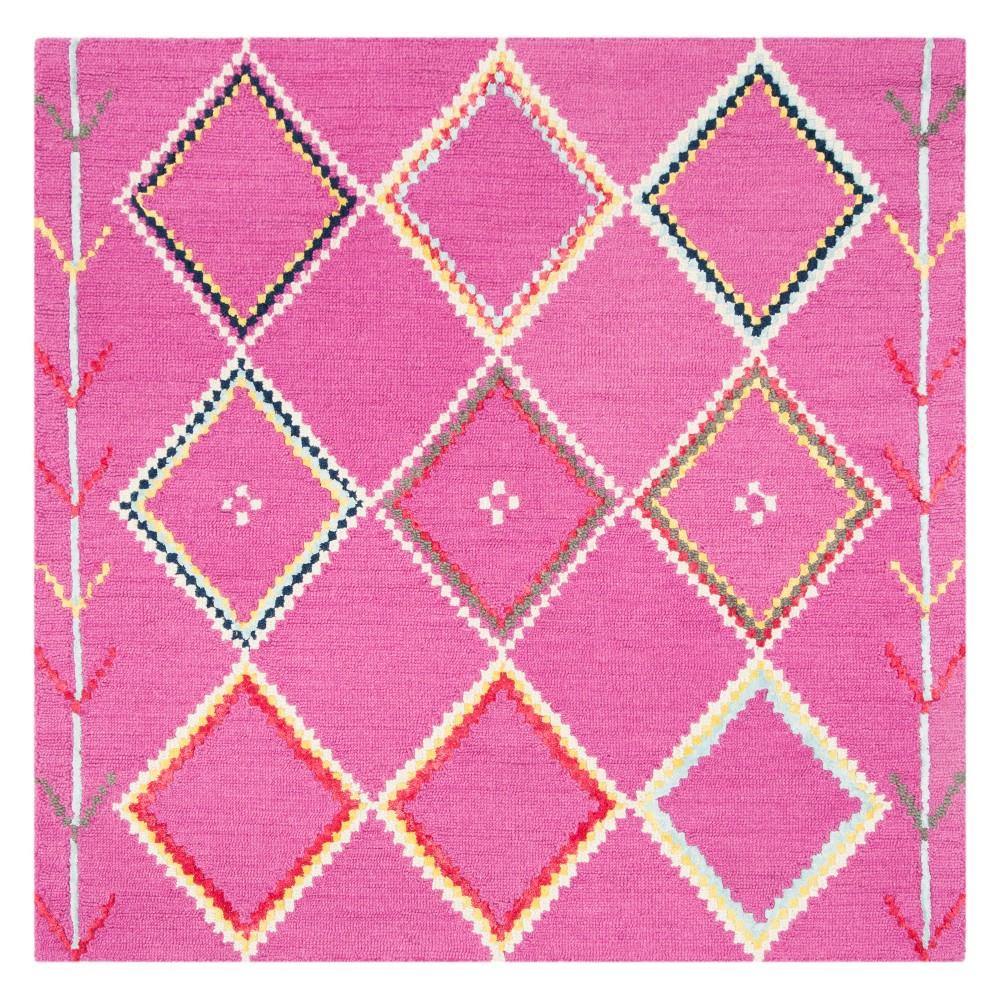 5 X5 Geometric Tufted Square Area Rug Fuchsia Safavieh