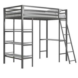 Twin Nova Metal Loft Bed with Shelves Gunmetal Gray - Little Seeds