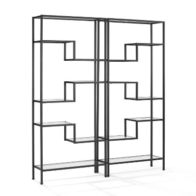 "78"" 2pc Sloane Etagere Set Black - Crosley"