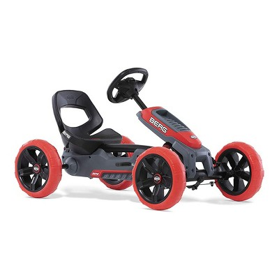 BERG Reppy Rebel Kids Pedal Go Kart Ride On Toy with Axle Steering with Bucket Seat and Steering Wheel, Red and Gray