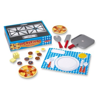 Melissa & Doug Flip and Serve Pancake Set (19pc) - Wooden Breakfast Play Food