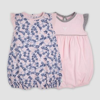Burt's Bees Baby® Baby Girls' 2pk Organic Cotton Ditsy Blossoms Bubble Romper Set - Indigo 3-6M