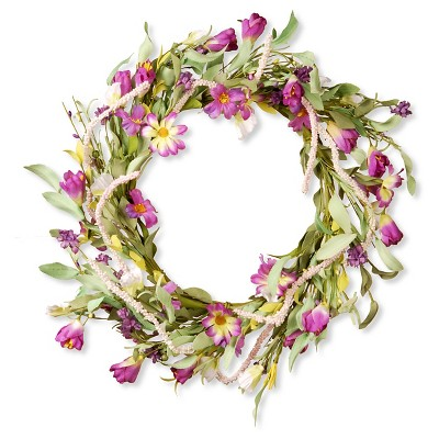 "Floral Wreath Purple Mixed Flowers (20"")"
