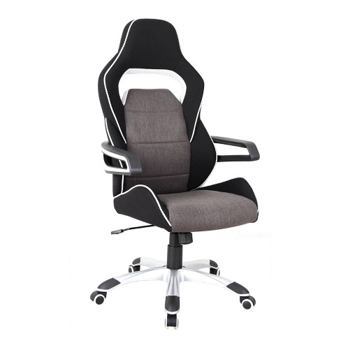 Ergonomic Upholstered Racing Style Home & Office Chair Gray/Black - Techni Mobili - image 1 of 4