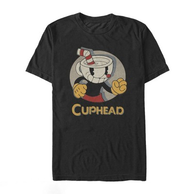 Men's Cuphead Logo Portrait Circle T-Shirt