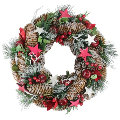 "Northlight 13.25"" Unlit Berries, Apples, Stars, and Pine Cones Frosted Christmas Wreath - image 1 of 1"