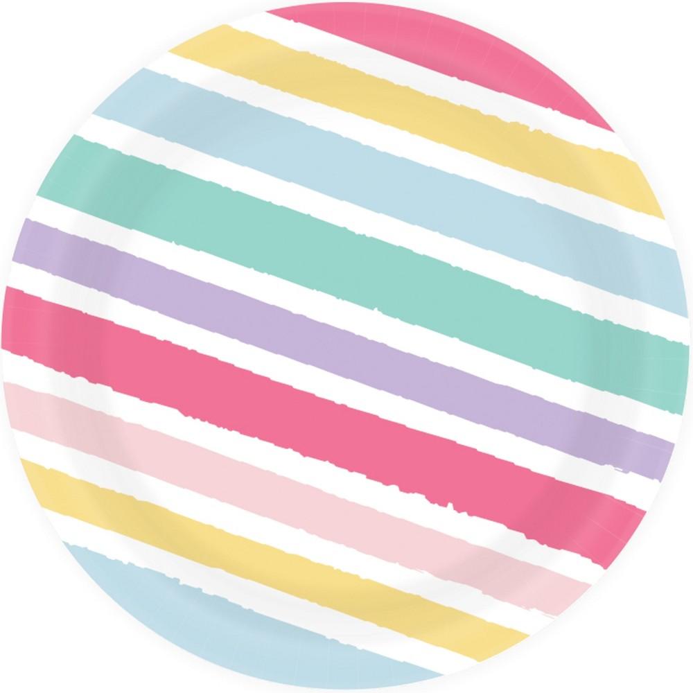 8.5 20ct Striped Disposable Dinner Plates - Spritz