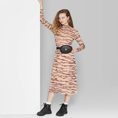 Women's Long Sleeve Mock Neck Tiger Print Mesh Midi Dress - Wild Fable™ Pink - image 1 of 3