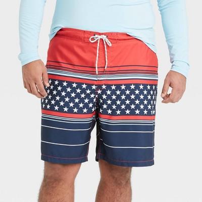 "Men's Big & Tall 9"" Striped Americana Board Shorts - Goodfellow & Co™ Dark Blue"