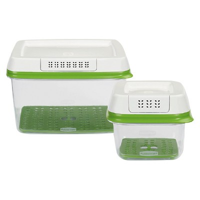 Rubbermaid 2ct FreshWorks Produce Saver Food Storage Container with Lid Green