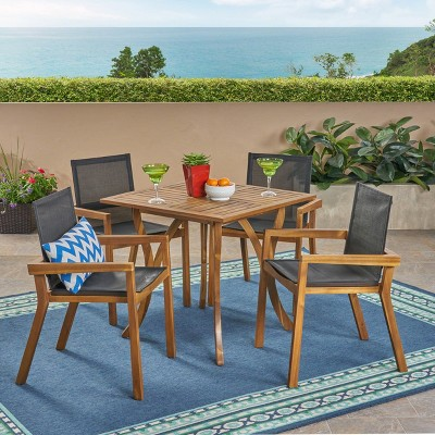 Chaucer 5pc Acacia and Mesh Dining Set - Teak/Black - Christopher Knight Home