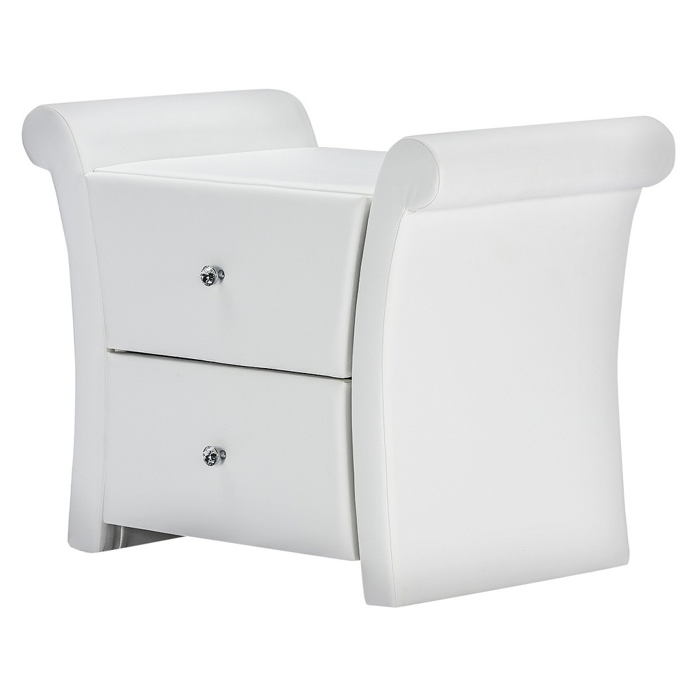 Reviews Victoria Matte Faux Leather Leather 2 Storage Drawers Nightstand Bedside Table - White - Baxton Studio