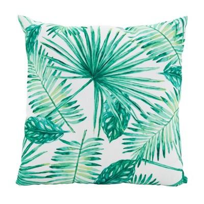 "Saro Lifestyle 18""x18"" Swaying Palms Poly Filled Throw Pillow Green"
