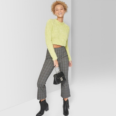 Women s Fuzzy Cropped Mock Neck Sweater - Wild Fable™ Citrus Yellow ... c3794f422