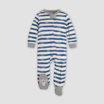 Burt's Bees Baby® Baby Boys' Painted Stripe Organic Cotton Sleep N' Play Union Suit - White/Blue/Gray 0-3M