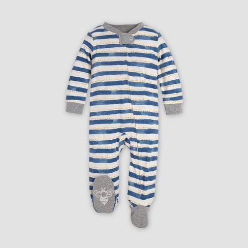 Burt's Bees Baby® Baby Boys' Painted Stripe Organic Cotton Sleep N' Play - White/Blue/Gray - image 1 of 1
