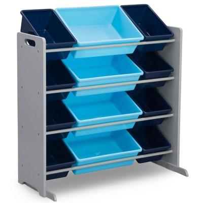 Delta Children Kids' Toy Storage Organizer with 12 Plastic Bins - Gray/Blue