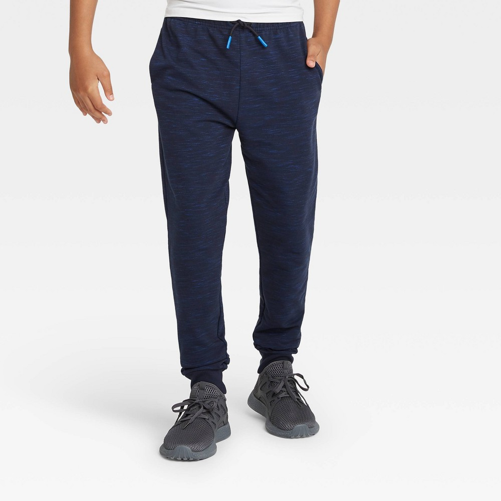 Boys' French Terry Jogger Pants - All in Motion Navy Heather XXL, Blue Grey was $20.0 now $14.0 (30.0% off)