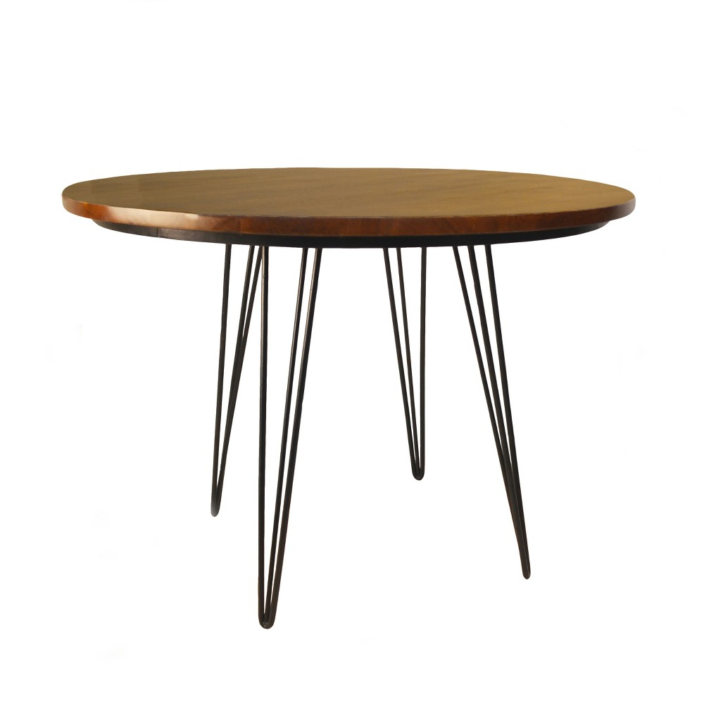 42 Elin Round Bent Iron Leg Dining Table Black - Carolina Chair and Table