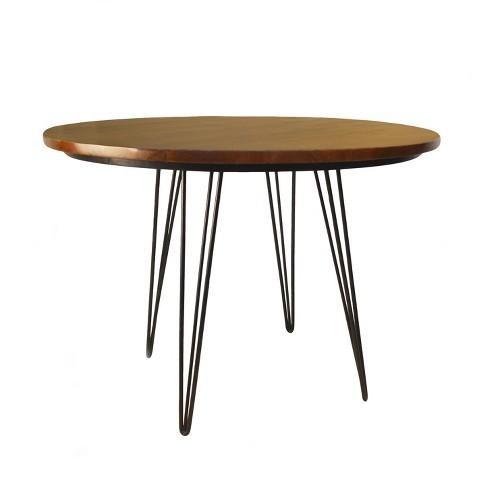42 Elin Round Bent Iron Leg Dining Table Black Carolina Chair And