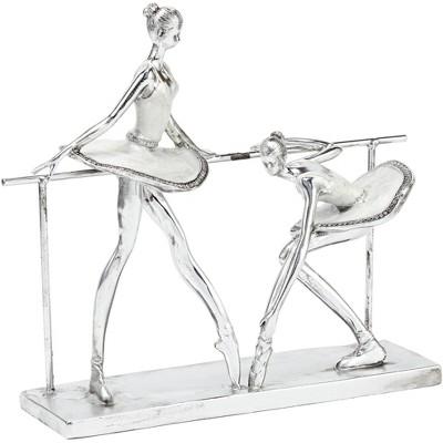 """Dahlia Studios Ballerina Practice 11 1/2"""" High Silver Sculpture"""