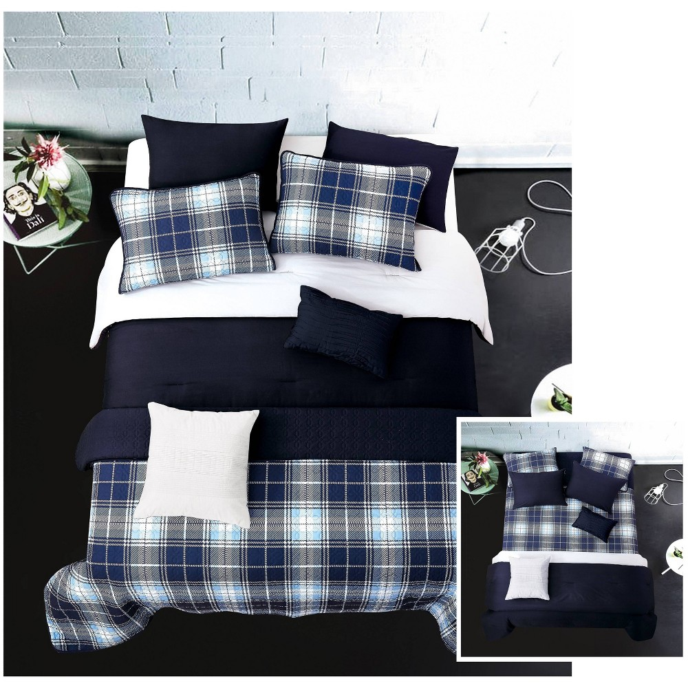 Riverbrook Home Full/Queen Plaid 8pc Layered Comforter & Coverlet Set Gray/Navy, Blue Gray