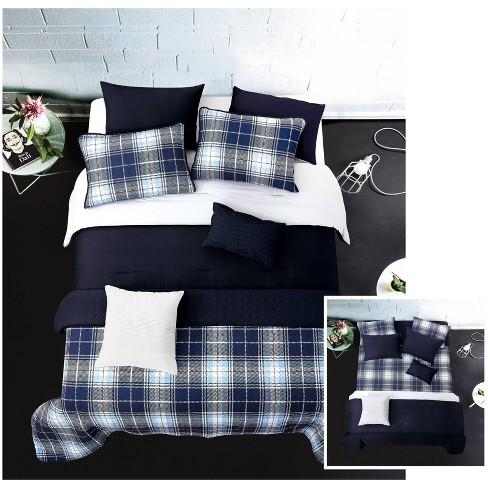 Riverbrook Home Plaid Layered Comforter Coverlet Set Gray Navy Target