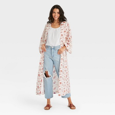 Women's Woven Floral Print Duster - Universal Thread™ Cream