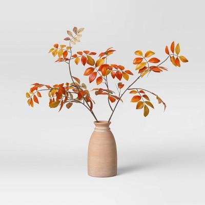 """22"""" x 30"""" Artificial Orange Leaf Arrangement in Ceramic Pot - Threshold™"""