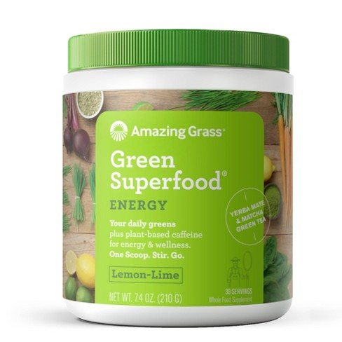 Amazing Grass Green Superfood Energy Vegan Powder - Lemon Lime - 7.4oz - image 1 of 4
