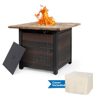 """34"""" Wicker Fire Pit Table with Cover - Nuu Garden"""